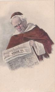 Eastern European Priest Reading Newspaper