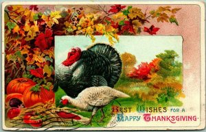 Vintage THANKSGIVING Embossed Postcard BEST WISHES Turkey Couple / 1909 Cancel