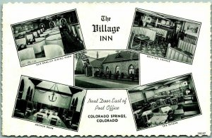 Colorado Springs CO Postcard THE VILLAGE INN Restaurant 5 Views Curteich c1950s