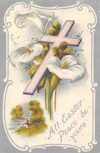 Embossed: Calla lilies, Cross, All Easter Peace be Yours!