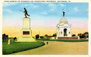 PA - Gettysburg. Minnesota and Pennsylvania Monuments