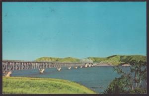 Mile Long Bridge,New Town,ND Postcard BIN