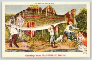 Kind We Catch in Hagerman Idaho~Father & Son Carry Exaggerated Fish~1940 Linen
