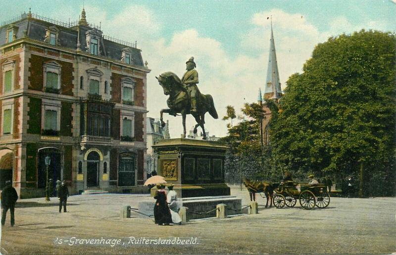 Hague Netherlands Ruiterstandbeeld early postcard