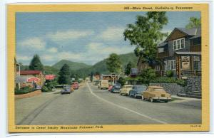 Main Street Cars Gatlinburg Tennessee linen postcard