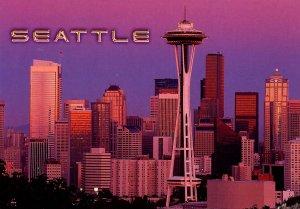 WA - Seattle. Space Needle, Skyline at Sunset