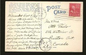 USA Postmark 1939 Milwaukee Wisc Lincoln Memorial Bridge Linen Postcard