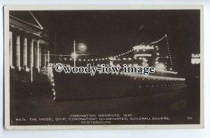 tp9159 - Hants - Coronation Illuminated Model Ship 1937, Guildhall Sq.- postcard