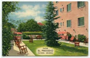 Patio El Presidio Hotel Tucson Arizona linen postcard