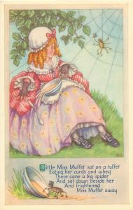 A Salmon postcard signed M. S. Little Miss Muffet spider humour