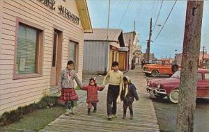 Alaska Nome Main Street With Eskimo Children