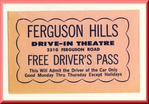 1964 Ferguson Hills Drive-In Theatre Driver's Pass-Pink, Cincinnati, Ohio/OH