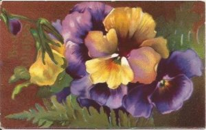 Purple Yellow  Pansies to say  Best Wishes Vintage Postcard  1911 Postmark
