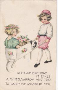 BIRTHDAY; Boy carrying Girl with baskets of pink flowers, 00-10s