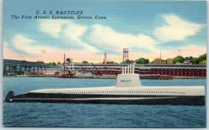 Groton, Connecticut Postcard U.S.S. NAUTILUS First Atomic Submarine Linen c1940s