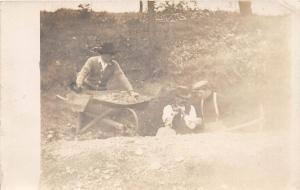 A16/ Occupational Men Job RPPC Postcard c1910 Ditch Crew Pick Wheelbarrow 9