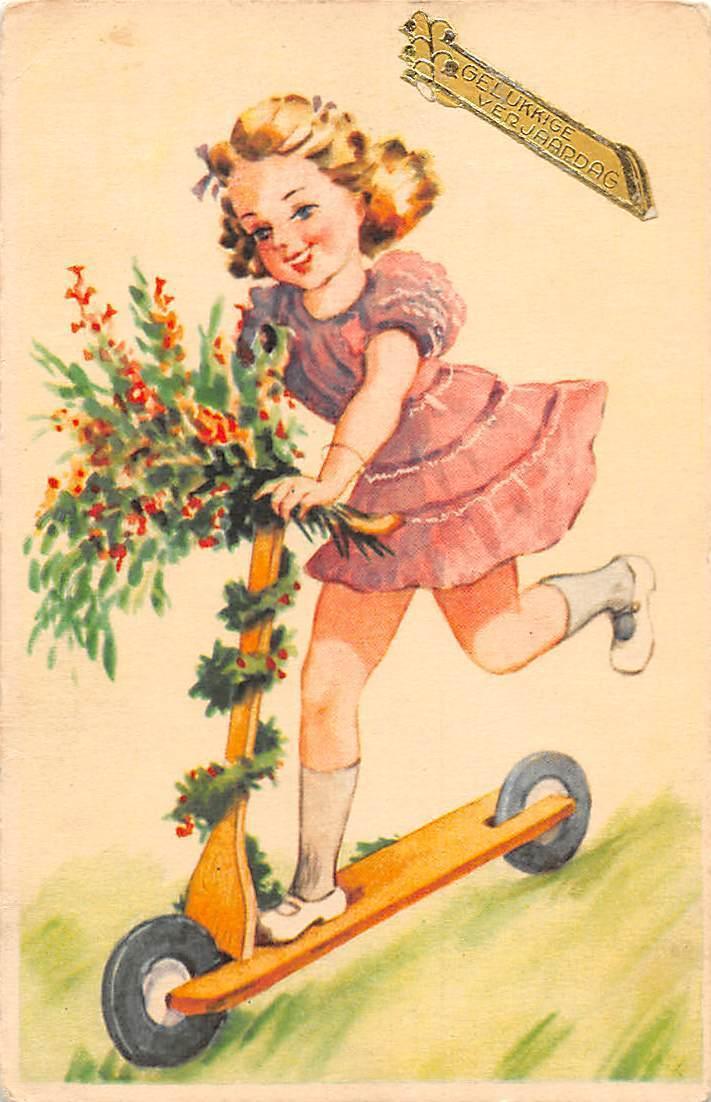 Gelukkig Verjaardag Happy Birthday Fantasy Girl Flowers Scooter