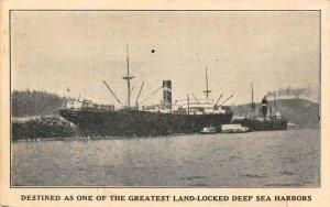 COOS BAY Land-Locked Deep Sea Harbor Oregon Steamships Vintage Postcard