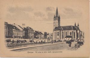 B82670 eperjes fo utca a rom kath templommal presov slovakia front/back scan