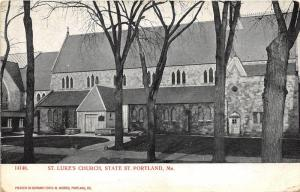 Portland Maine~Saint Luke's Church on State Street~Bare Trees in Front~1905 PC