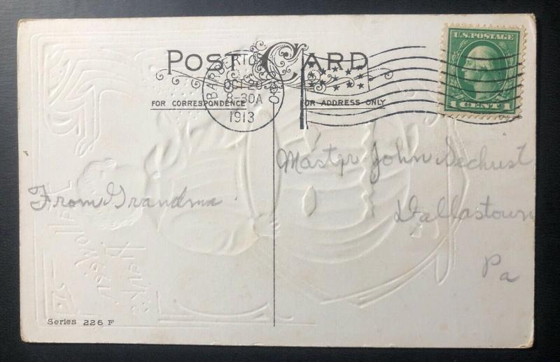 1913 Barberton OH Usa Picture Postcard PPC Cover Halloween Little Boy & Pumpkin