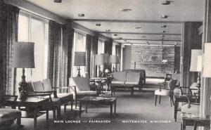 Whitewater WI Brick Wall Facade in the Main Lounge of Fairhaven~1940s B&W