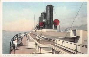 Steamer City of Detroit III, Hurricane Deck Sidewheeler c1920s Vintage Postcard