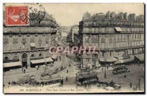 Old Postcard Marseille Place Sadi Carnot and Rue Colbert Tram