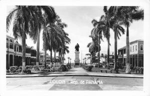 Colon Panama~Main Street Monument Center~Palm Trees~Park Benches~1940s RPPC