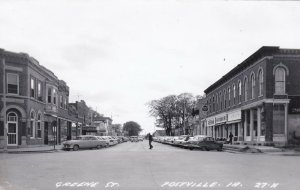 Iowa Postville Greene Street Old Cars Real Photo sk7087