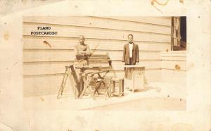 BLACK AMERICANA YOUNG MEN WOODWORKING  RPPC REAL PHOTO POSTCARD