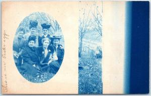 Vintage Wisconsin RPPC Real Photo Postcard 6 Ladies Hats & Overcoats Cyanotype