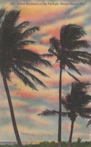 Silent Sentinels of the Twilight Miami Beach FL Palm Trees Linen Postcard