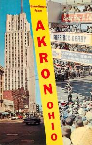 Akron Ohio Greetings National Tower WAKR Radio Soap Box Derby OH Postcard