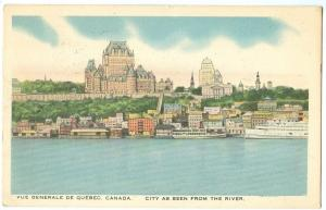 Quebec, Canada, City as seen from the River, 1949 used Postcard
