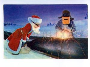 153835 NEW YEAR DED MOROZ Santa Claus GAS pipeline WORKER old