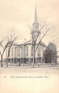 Campello Massachusetts South Congregational Church Antique Postcard K14469