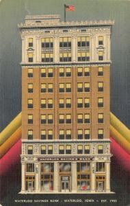 Waterloo Iowa~Savings Bank Vignette~ART DECO Car Loan Advertising~1941 Linen PC