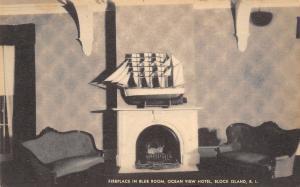 Block Island Rhode Island~Ocean View Hotel~Blue Room Fireplace~Ship Model~Artvue