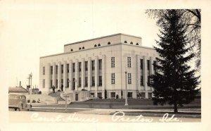 RPPC PRESTON, ID Court House Idaho ca 1940s Vintage Photo Postcard