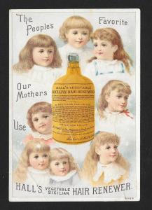 VICTORIAN TRADE CARD Halls Hair Renewer Eight Girls & Bottle
