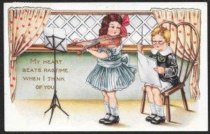 My Heart Beats Ragtime . . Girl Playing Violin Boy Conducting Used c1921