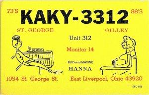 QSL Radio Card From East Liverpool Ohio KAKY-3312