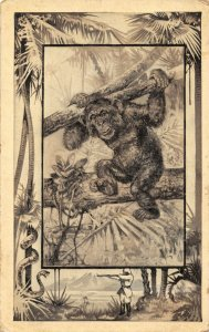Great White Hunter~African Safari Series~Chimpanzee~Jungle Border~1909 MJ Mintz
