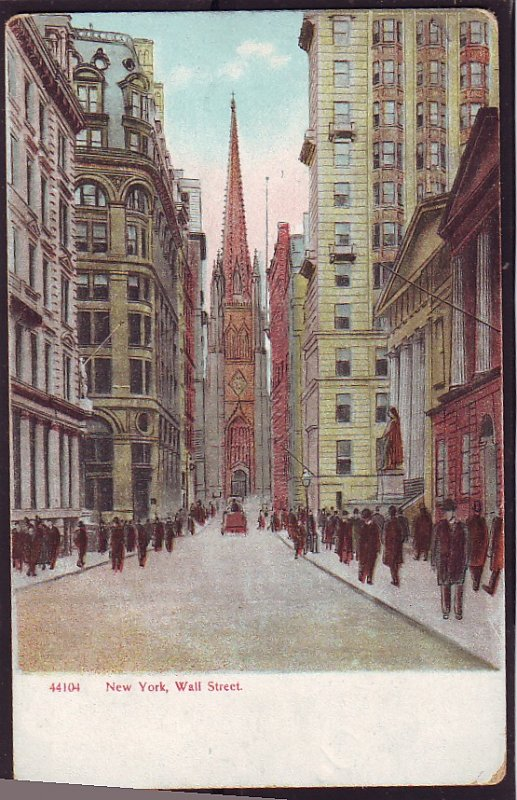 P1478 very old used postcard new york wall street scene people