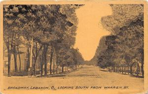 Lebanon Ohio~Broadway South @ Warren Street~Residential Section~1912 Postcard