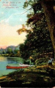 Wisconsin Milwaukee Scene Along The Banks Of The Milwaukee River 1908