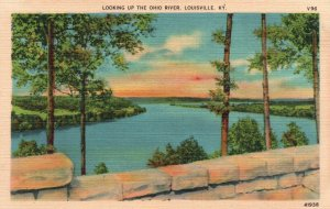 Louisville, Kentucky, KY, Looking Up Ohio River, Linen Vintage Postcard g4445