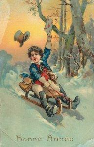 Postcard drawings Bonne Annee Boy and sledge