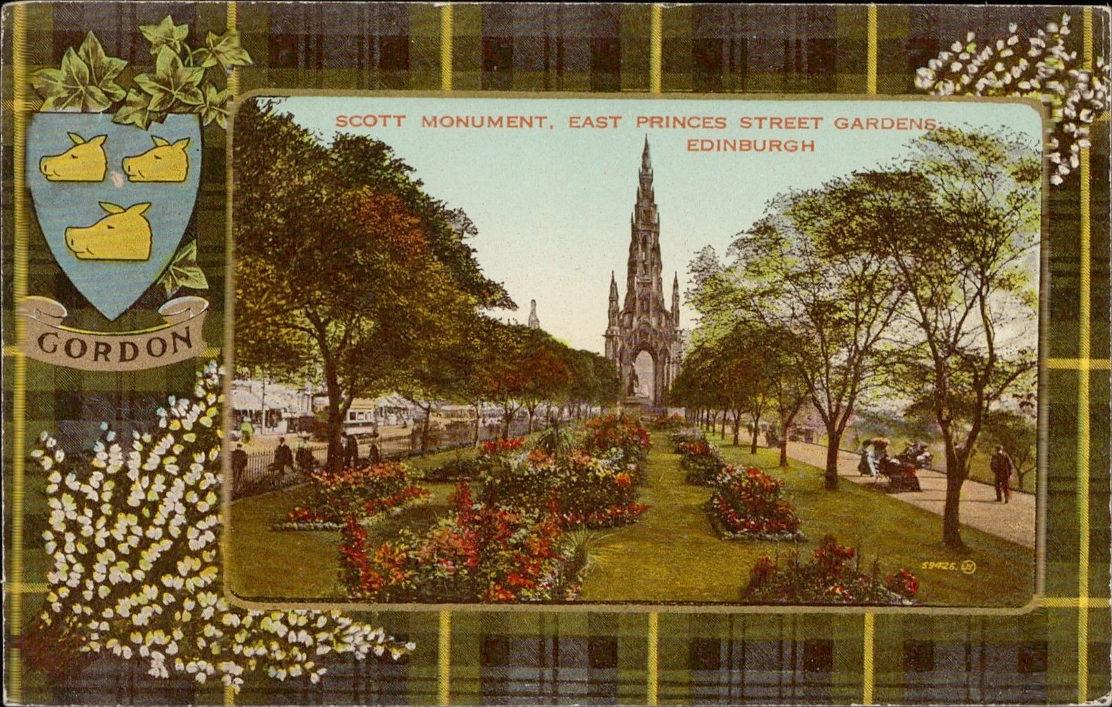 Edinburgh Scott Monument Princes Street Gardens Gordon emblem ...